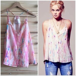Rory Beca Watercolor Flowy Summer Tank Cami Blouse